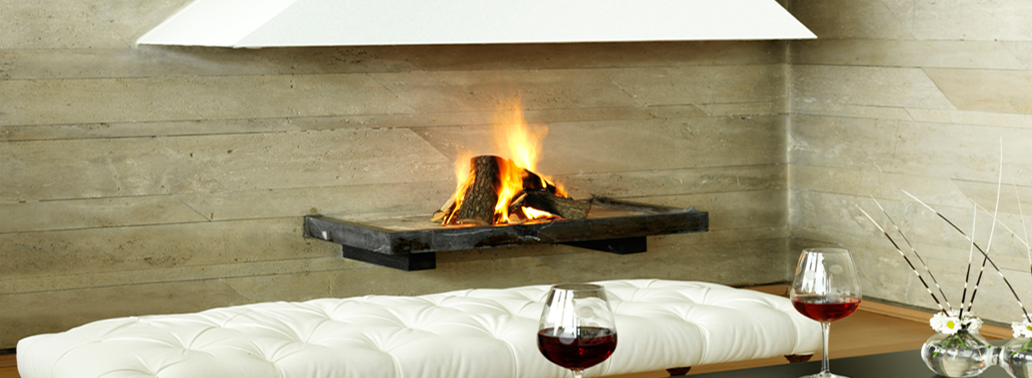 Fireplace with wine glasses